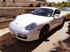 White Porsche Cayman