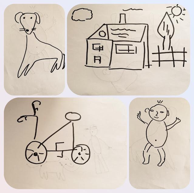 Koláž čtyř obrázků (pes, dům se stromem v zahradě, kolo, mimino)