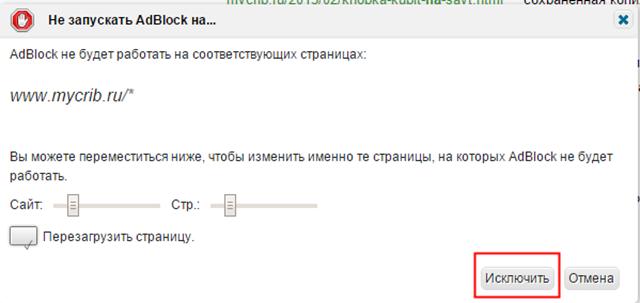 заблокировать адблок для сайта
