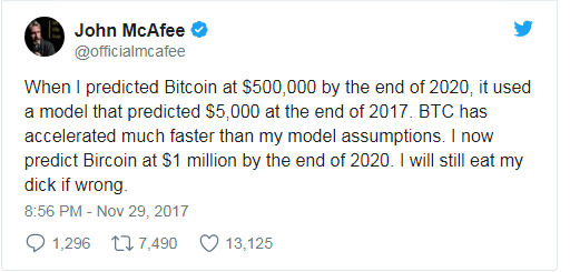"""if not, I will eat my d*ck on national television"" john mcafee"
