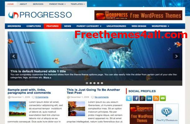 Free Blue WordPress Business Theme