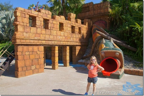 Coronado Springs Resort has an amazing playground for kids and pyramid hotel