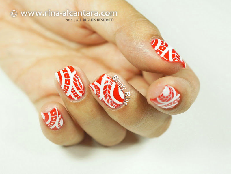 Red Tribal Freehand Nail Art by Simply Rins