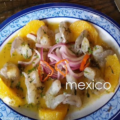 CarouLLou.com Carou LLou in Mexico city shrimps aquachile naranja +-