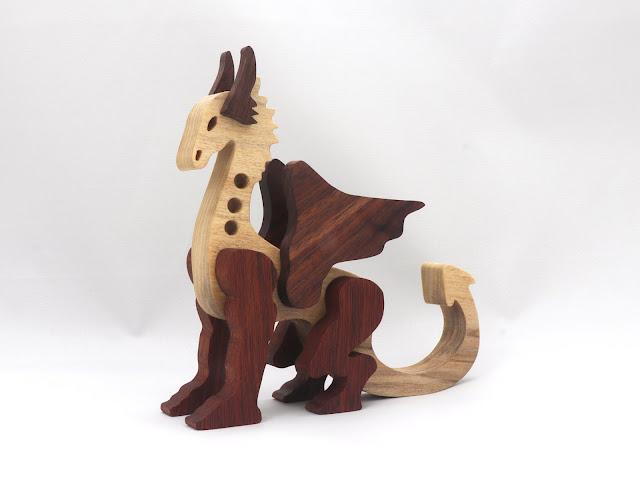 Handmade Wood Toy Dragon Made From Poplar and Walnut Hardwoods
