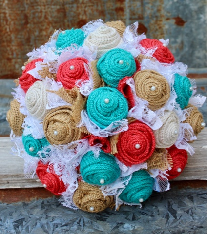 rustic burlap and lace bridal bouquet in turquoise and coral