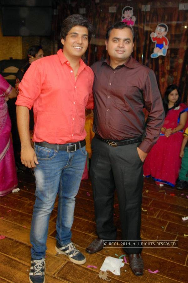 Ankit Kothari and Nishank Khorgade during Vihaan's first birthday bash at M's Repose, in Nagpur.