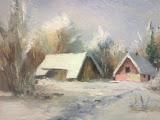 zima w Lesie I, olej, płótno, 18x24 cm