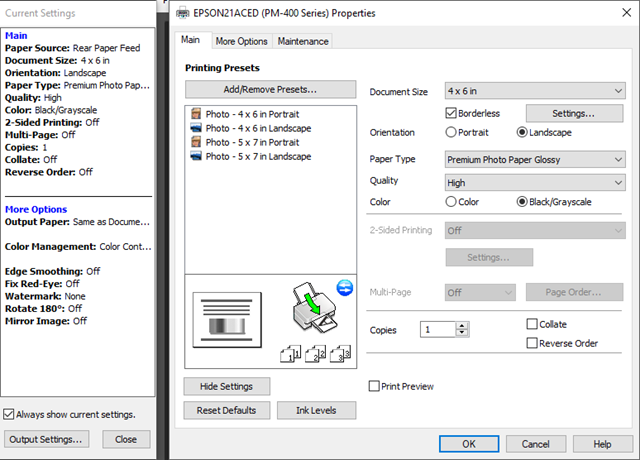 Epson PM-400 Windows Print Driver Settings