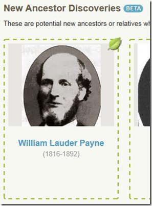An AncestryDNA 新的祖先发现for William Lauder Payne