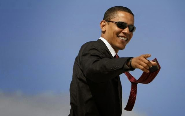 Obama Pointing finger sky