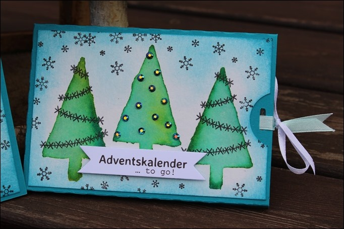 Adventskalender to go Stampin Up Christbaumfestival Watercolor Modern Christmas 02