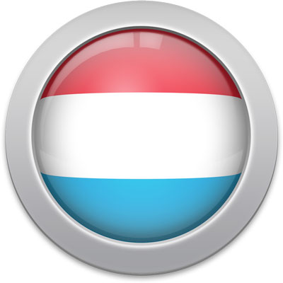 Luxembourgish flag icon with a silver frame