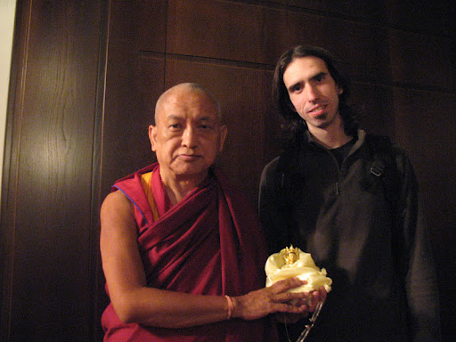 Lama Zopa Rinpoche and Osel in Madrid, Spain in June 2009