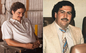 split image: on left, Pablo Escobar as played by Wagner Moura; on right, Pablo Escobar, historical shot