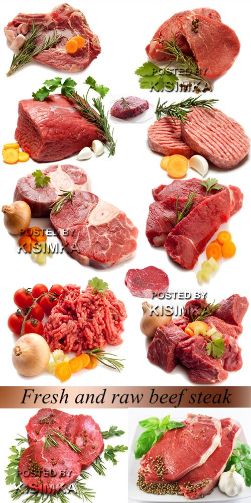 Stock Photo: Fresh and raw beef steak