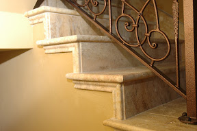 Architecture, Gallery, Interior, Stair Risers, Stair Treads, Staircases, Stairs, Travertine