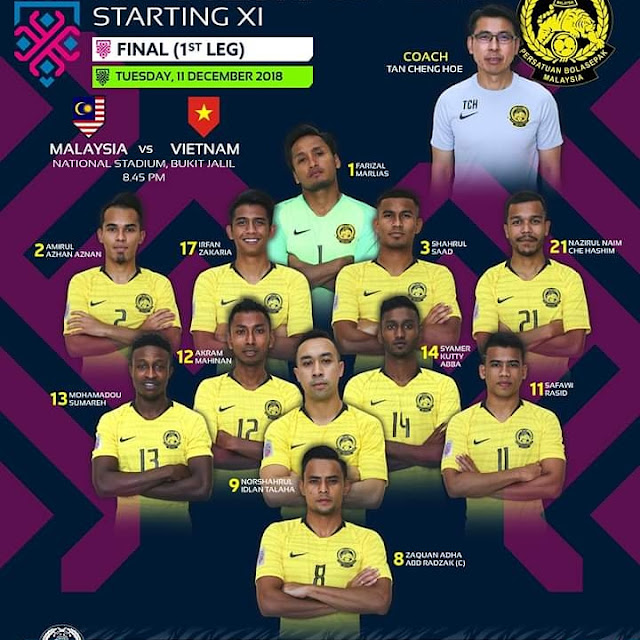FINAL PIALA AFFsUZUKI18, Team Malaysia, Harimau Malaya, MALAYSIA vs VIETNAM,BARISAN PEMAIN MALAYSIA:  1. Farizal Marlias (GK); 2. Amirul Azhan Aznan, 17. Irfan Zakaria, 3. Shahrul Saad, 21. Nazirul Naim Che Hashim; 12. Akram Mahinan, 14. Syamer Kutty Abba; 13. Mohamadou Sumareh, 9. Norshahrul Idlan Talaha, 11. Safawi Rasid; 8. Zaquan Adha Abd Radzak (C).  Subs: 5. Adam Nor Azlin, 6. Syazwan Andik Ishak, 7. Aidil Zafuan Abd Radzak, 10. Shahrel Fikri Md Fauzi, 15. Kenny Pallraj, 16. Syazwan Zainon, 18. Syafiq Ahmad, 19. Akhyar Rashid, 20. Ahmad Hazwan Bakri, 22. Khairul Fahmi Che Mat (GK), 23. Hafizul Hakim Khairul Nizam Jothy (GK). N/A: 4. Syahmi Safari.
