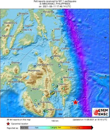 Σεισμός 7,1 Ρίχτερ πριν από λίγο στις Φιλιππίνες
