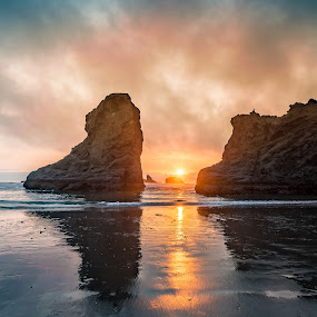 by Tom Moors - Landscapes Beaches ( oregon, reflection, bandon beach, sunset, haystack )