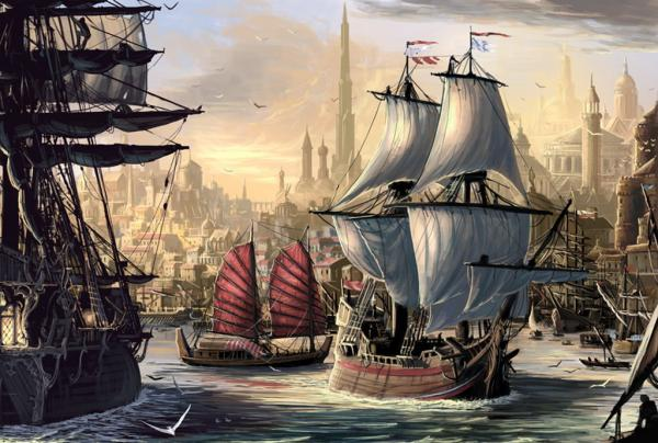 Ships In The Harbor At Dawn, Magick Lands 3