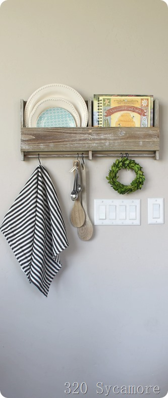 wooden kitchen shelf with s hooks