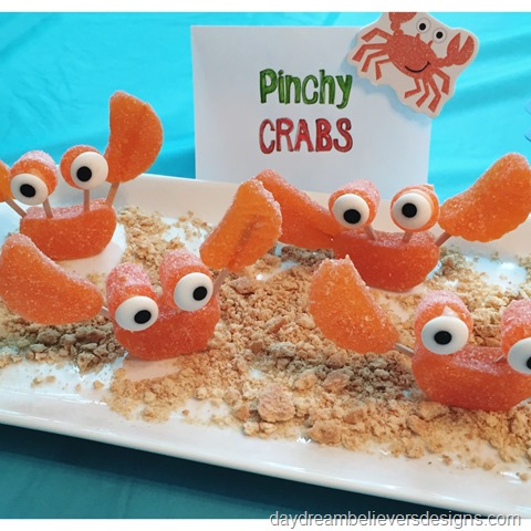 DIY crab candies - SO fun for an under the sea - mermaid birthday party. ON Daydream Believers