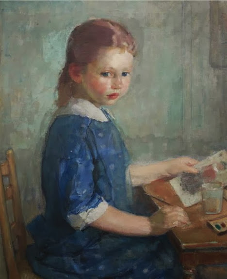 Karl Albert Buehr – The Artist's Daughter Lydia Painting a Watercolor