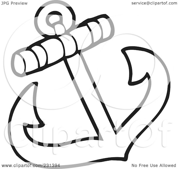 Royalty Free Rf Clipart Illustration Of Coloring Page Outline Of An Anchor   Cartoon