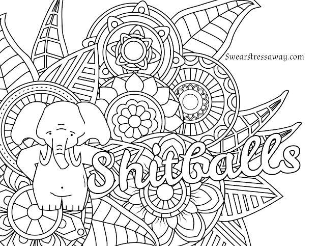 Free Printable Coloring Page  Shitballs  Swear Word Coloring Page   Sweary Coloring Page