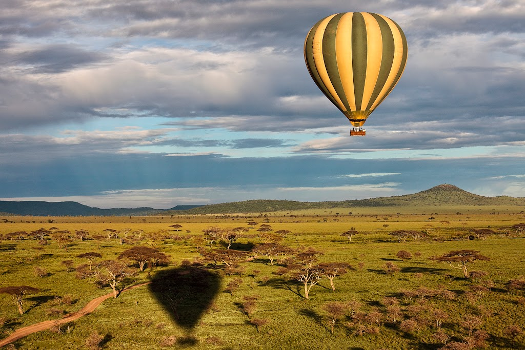 Air Safari in Africa. Balloon Safari in Serengeti, Tanzania.