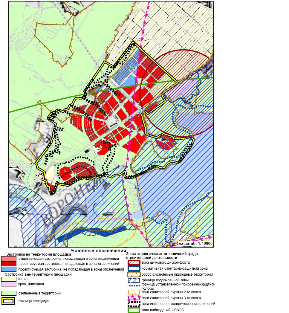 Карта-схема зон экологических ограничений градостроительной деятельности (площадка «Шилово»)