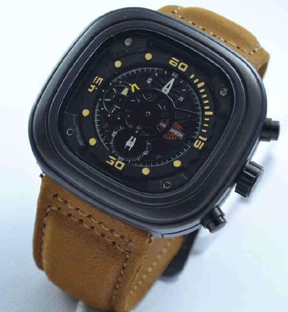 Jual jam tangan Harley davidson chrono brown leather Yellow
