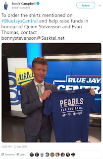 Pearls for the Boys made it on Blue Jay Central with Jamie Campbell.  Within a couple of minutes after the TV spotted aired, about 25 orders were received.