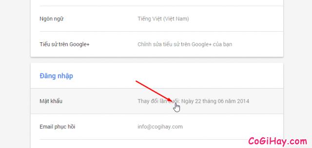 đổi mật khẩu gmail