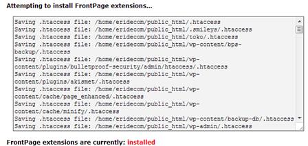 Frontpage extensions telah selesai diinstall