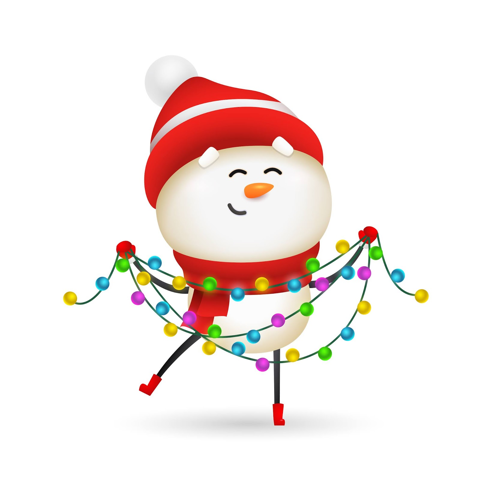 Happy Snowman Celebrating Christmas Free Download Vector CDR, AI, EPS and PNG Formats