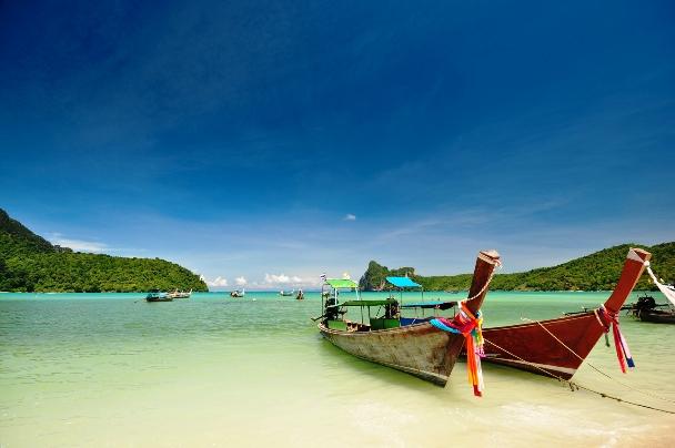 Long Tail Boats Ashore
