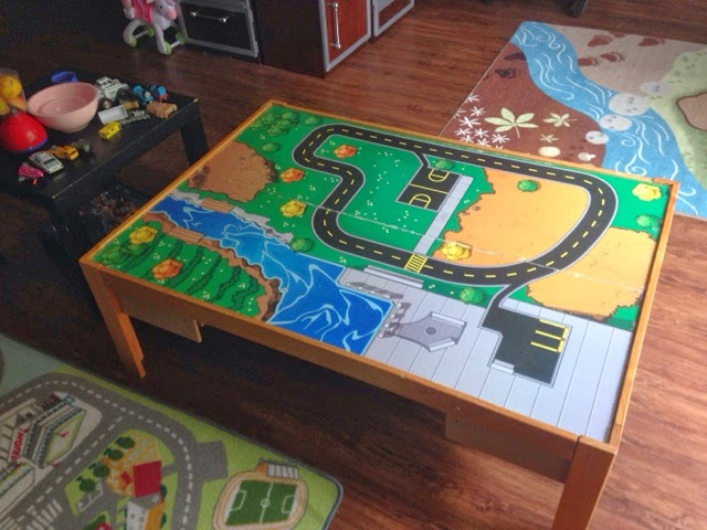 A Lego table built for twins DIY from KidKraft Train