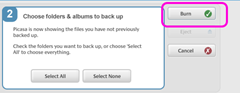 picasa transfer :: start the backup