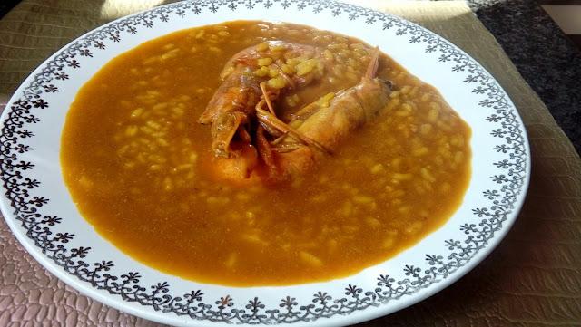 Arroz Caldoso De Gambones Y Alcachofas