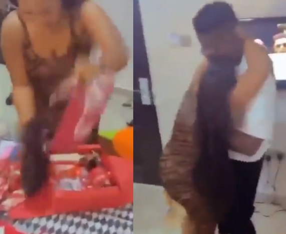 Nigerian lady goes gaga after her boyfriend gifted her bone straight hair on her birthday. (Video)