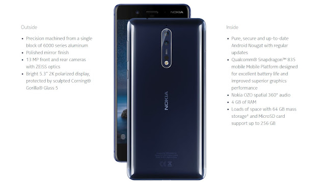 Nokia Releases Its Flagship Smartphone - Nokia 8 : See Full Specifications And Price 5