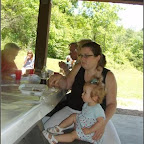 Lindsey Philpott and daughter Whitney Leigh enjoy the picnic.