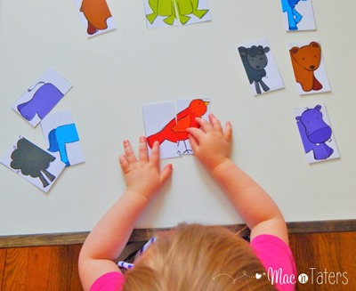 These heads and tails color animal puzzles are a great busy bag activity for toddlers and preschoolers to practice matching and learning their colors.