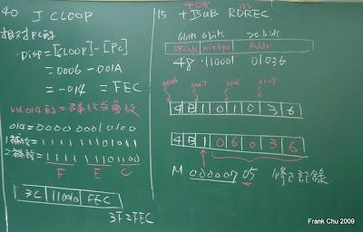 絕對定址及相對定址的計算,以二補數當負數的位移量
