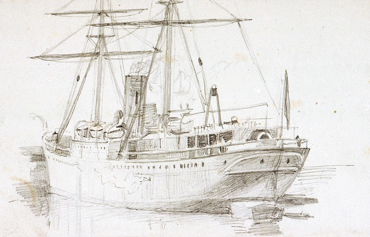 Sketch del DUBLIN CASTLE por William L. Willie. National Maritime Museum of Greenwich.jpg