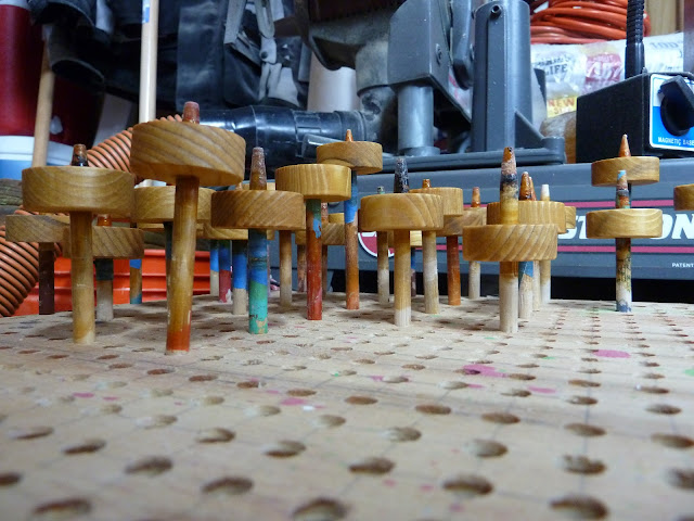 "Handmade Wood Toy Cars ""Speedy Wheels"" Wheels On Drying Rack"