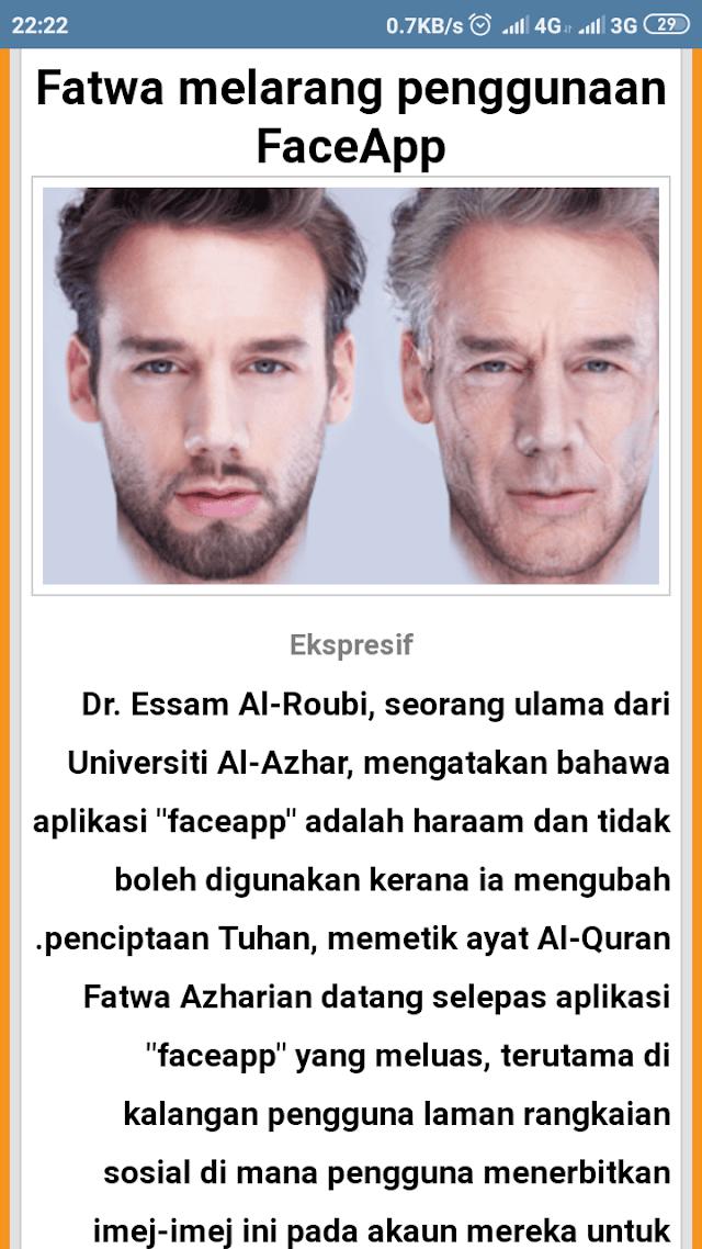 Fatwa al-Azhar Haramkan Aplikasi Faceapps