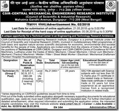 CSIR CMERI Technician Notification 2018 www.indgovtjobs.in